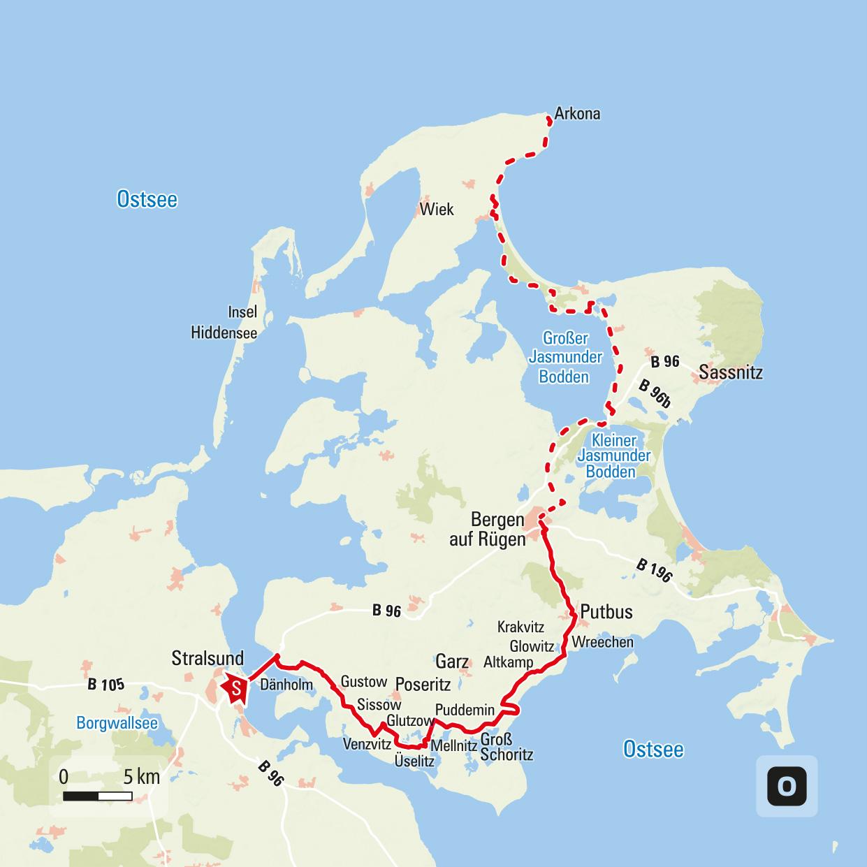 Streckenverlauf Rügendurchquerung auf dem E10 © Outdooractive Open Street Map
