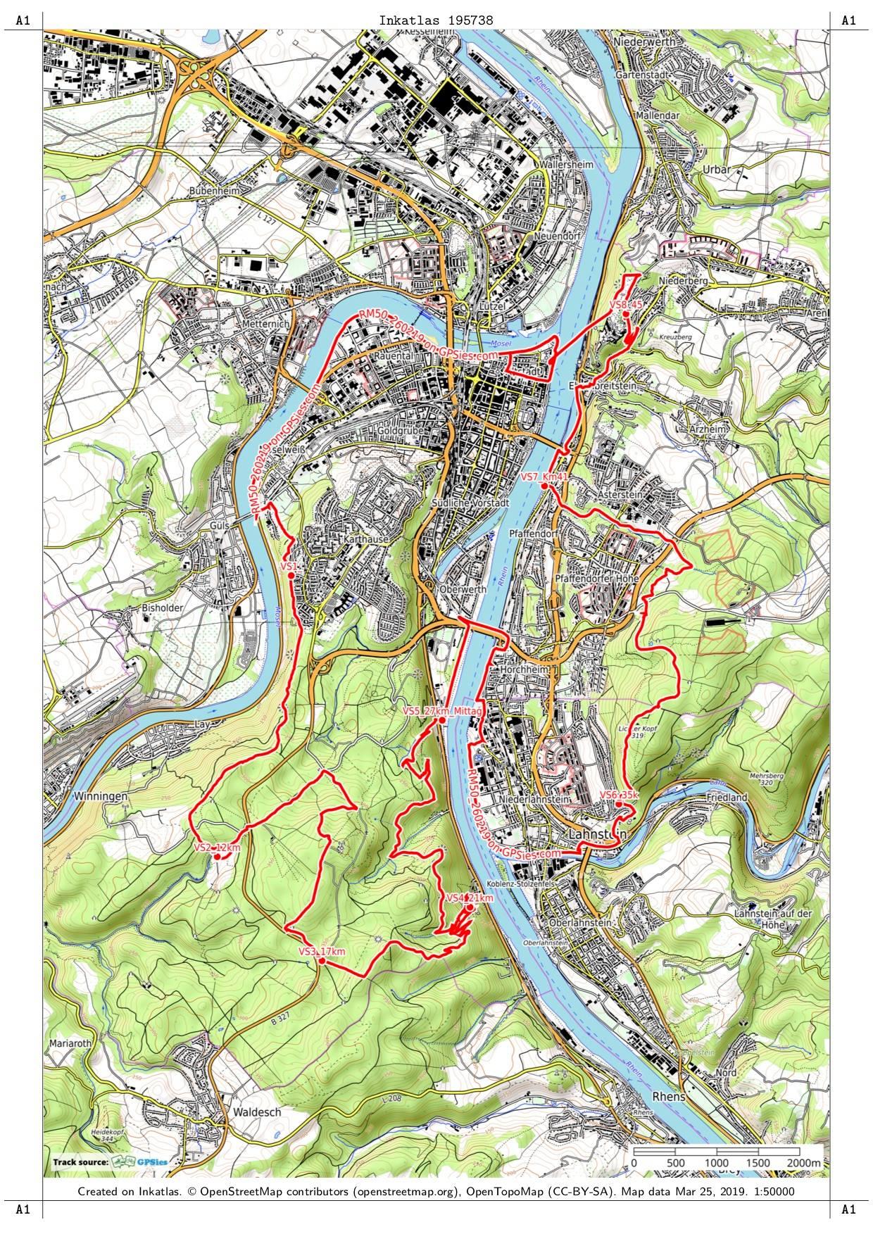 Die Strecke der RheinMosel50