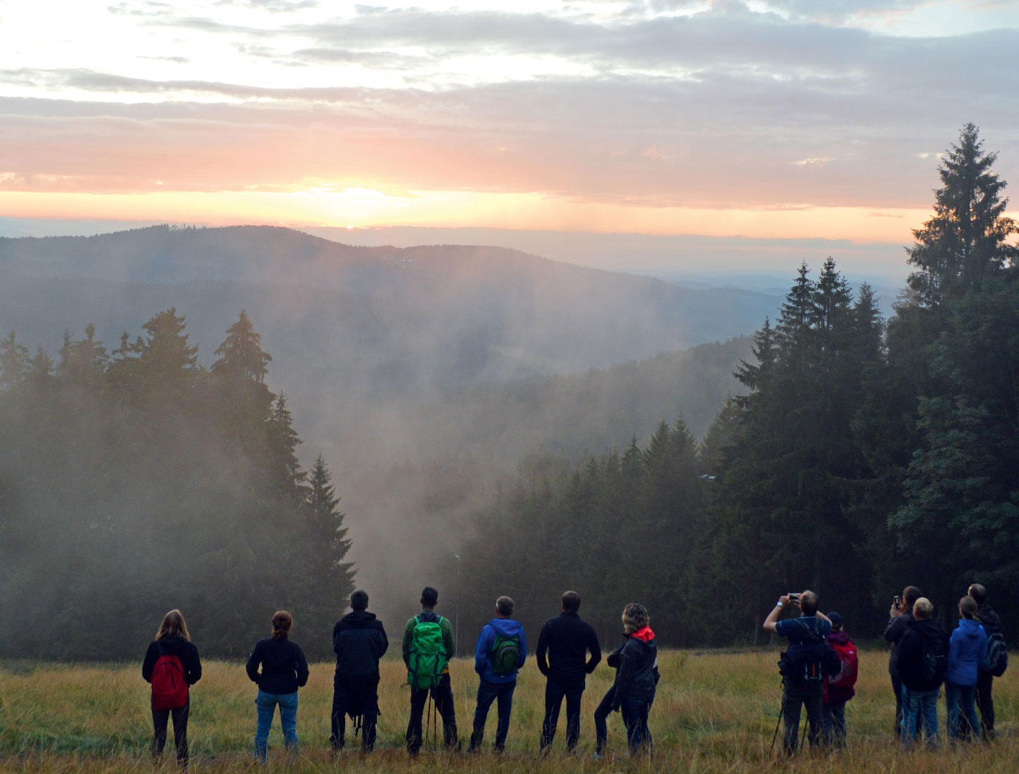'Zwischengang' bei der Hüttenwanderung - ein perfekter Sonnenuntergang am Pröller