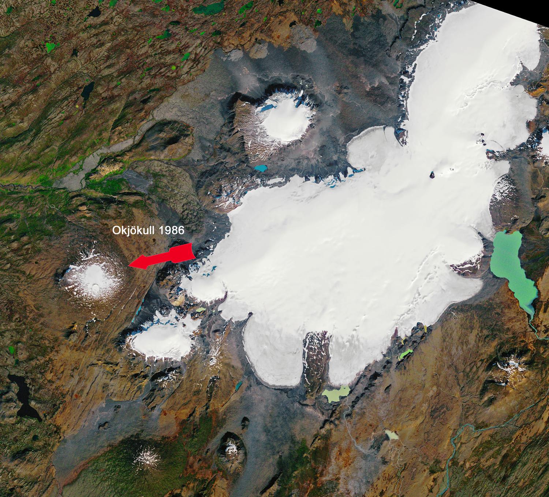 Der Okjökull auf Island am 14. September 1986 © NASA Earth Observatory, Joshua Stevens