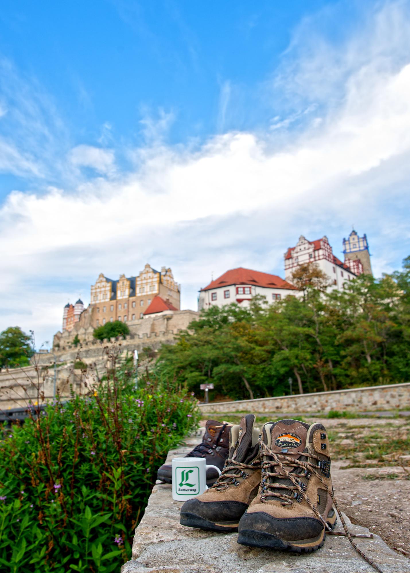 Blick zum Schloss Bernburg an der Saale