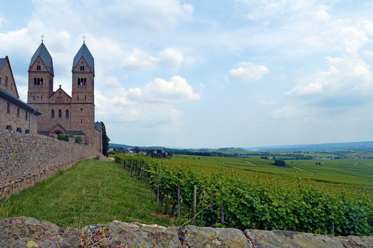 Der Blick von der Abtei St. Hildegard reicht bis zum Schloss Johannisberg © Wandermagazin, S. Pries