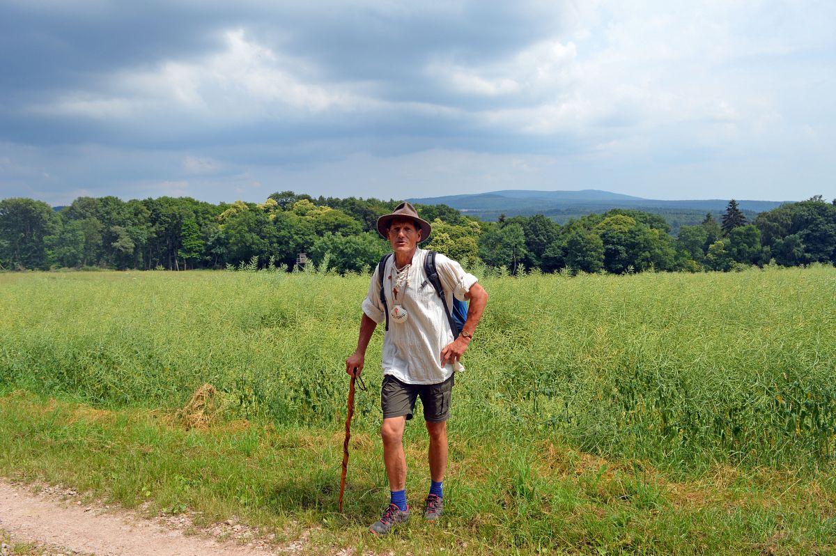 Pilgerführer Wolfgang Blum und im Hintergrund der Taunuswald © Wandermagazin, S. Pries