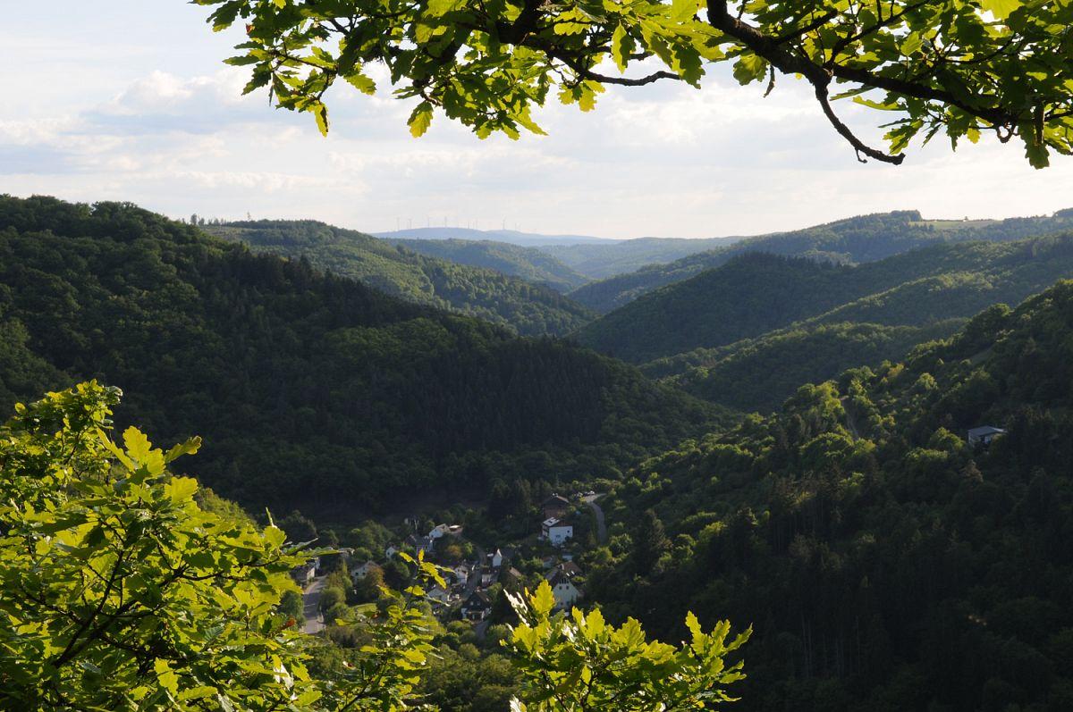 Ausblick am Dickschieder Fenster auf Geroldstein und in das Wispertal, Dickschieder Wildwechsel