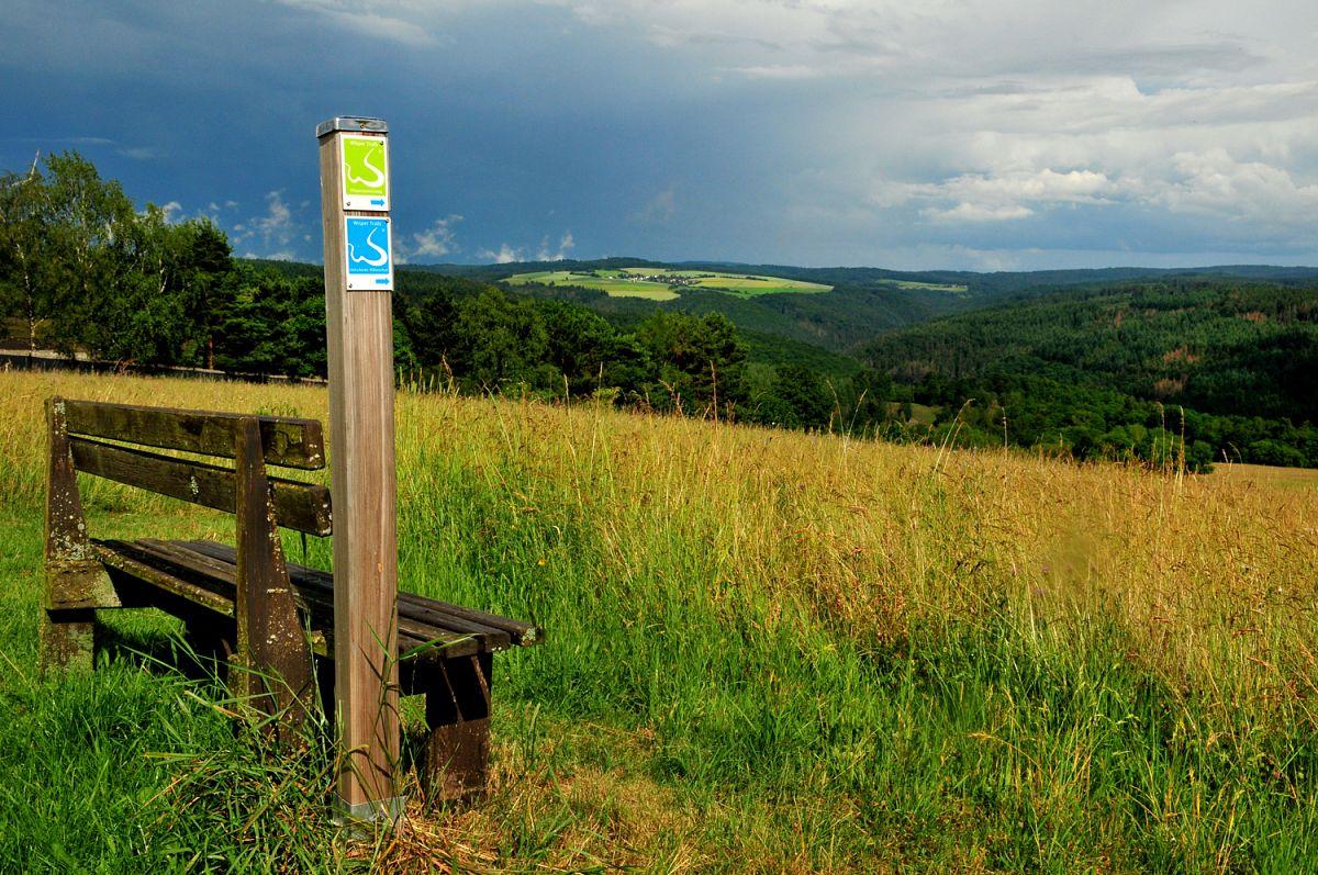 Panoramablick über den Wispertaunus bei Heidenrod-Dickschied, Wispertaunussteig/Dickschieder Wildwechsel