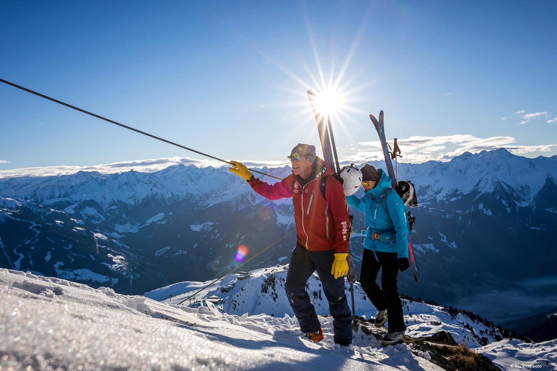 pDer-Winter-Alpinsteig-eignet-sich-fuumlr-alle-die-trittsicher-und-schwindelfrei-sind-aber-noch-nicht-auf-einen-Klettersteig-moumlchten-Kletterer-koumlnnennbspden-Hochzillertaler-Winterklettersteig-zum-Anfangspunkt-des-Winter-Alpinsteigsnbspnehmenp