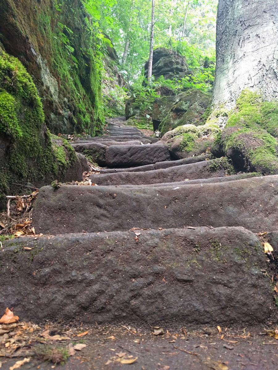 pIm-Uttewalder-Grund-laufen-wir-durch-eine-beeindruckende-erste-Felsenwelt-Wir-entdecken-eine-schmale-TreppenbspNoch-ahnen-wir-nicht-dass-der-Anblick-von-Stufen-bald-zum-Wander-Alltag-gehoumlren-wirdnbspp