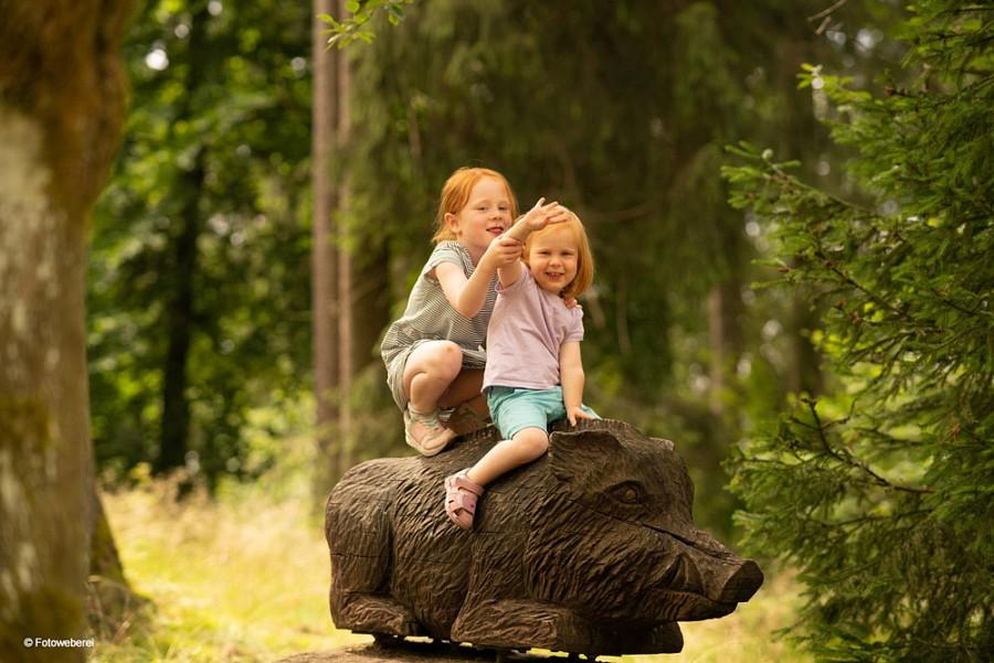Zwei Kinder auf einem Holzwildschwein im WeltWald Harz